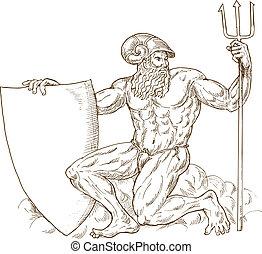 romano, dios, neptuno, o, Poseidon, tridente, protector,...