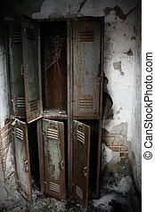 rusty lockers - old rusty lockers in a gymnasium of an...