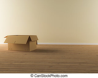 moving box - A moving box in a empty apartment