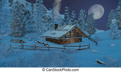 Little cabin in mountains at night