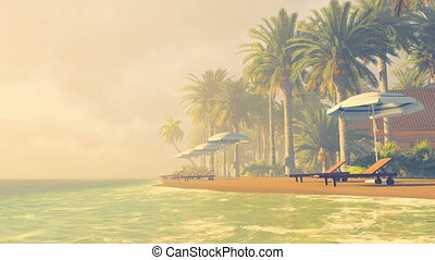 Deckchairs and parasols on a beach - Cozy tropical resort...