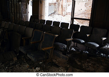 theater seats - old stadium seats in an abandoned theater
