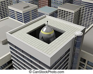 Roof of a skyscraper 4 - Rocket launcher hidden in the...