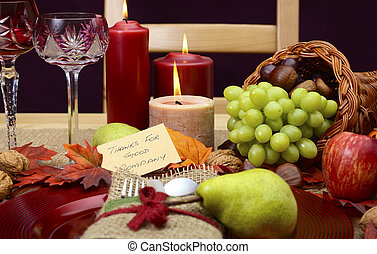 Country style Thanksgiving table closeup. - Country style,...