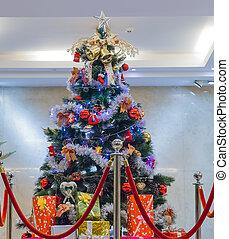 Christmas tree and santa bag with gifts