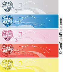 5 Diamond Heart Banners - Vector Illustration of 5 Diamond...