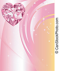 Pink Diamond Heart Background - Beautiful Abstract Heart...