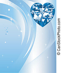 Blue Diamond Heart Background