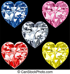 5 Diamond Hearts - Vector Illustration of 5 Diamond or...