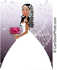 Wedding Gown 2 - A beautiful biracial woman on her wedding...