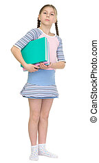 choolgirl has large armful of books - The schoolgirl has a...