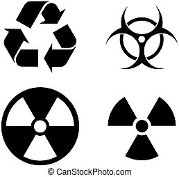 four common symbols - toxic, recycle, and radio-acitve