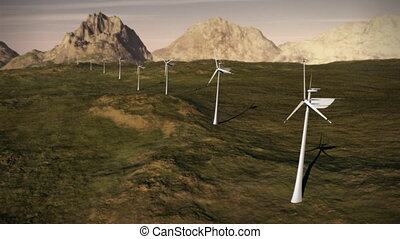 1149 Electricity Wind Turbines Farm Power Grid Clean...