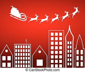 Santa Claus flying over the city on a red background