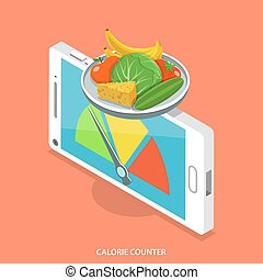 Calorie counter flat isometric vector concept. Smartphone...