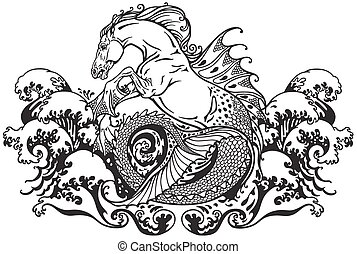hippocampus seahorse - hippocampus or kelpie mythological...