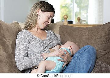 alimentação, peito, bebê