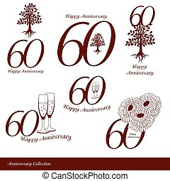 Anniversary 60th signs collection. Anniversary, birthday and...