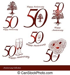 Anniversary 50th signs collection. Anniversary, birthday and...