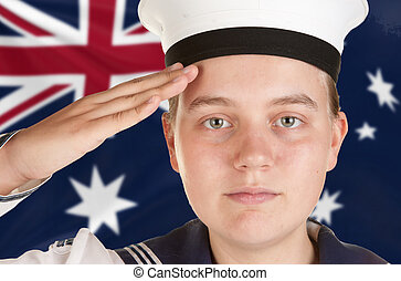 young sailor saluting isolated white background - young...