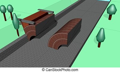 Bridge building bricks - Animation, Span bridge brick and...