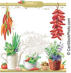 Strings of peppers and country Still life