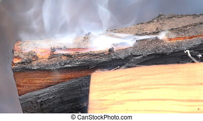 Burning Coal Close up of Red Hot Coals Glowed in the Stove -...