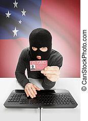 hacker, con, bandiera, su, fondo, presa a terra, id, Scheda,...