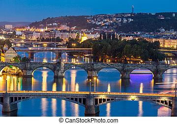 Prague at dusk - view of Bridges on Vltava, Prague at dusk,...