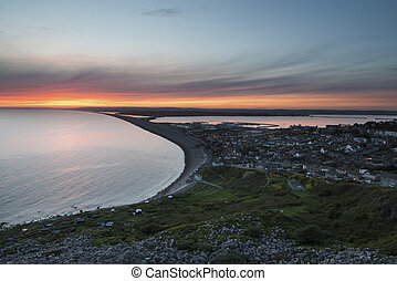 Chesil Beach - Sunset over Chesil Beach and Cove Portland