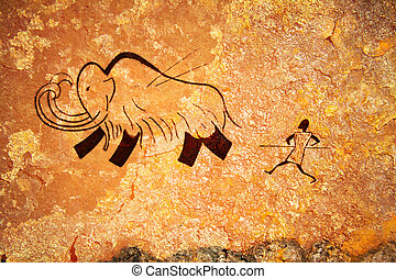 Cave painting of primitive hunt - Cave painting of primitive...