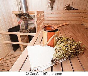 Finnish sauna interior and accessories