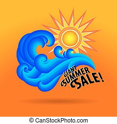 Sun wave ocean illlustration - Vector illustration with...