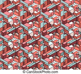 Vector Seamless Isometric Blocks Cubic City Composition Pattern in Pink and Blue