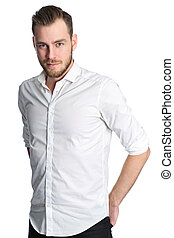 Fashionable man in shirt - A man in his 20s wearing a white...