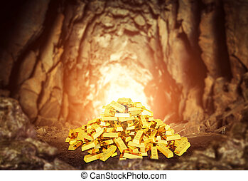 Heap of gold bars in the cave