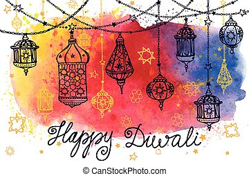 Happy Diwali hanging lamps and Watercolor splash - Happy...