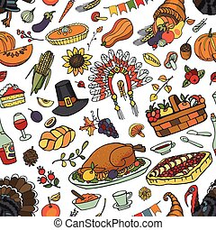 hanksgiving day doodle seamless pattern - Thanksgiving day...