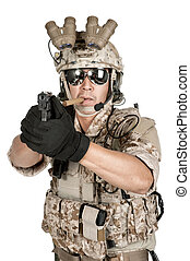 soldier man full armor hold gun in isolated - soldier man...