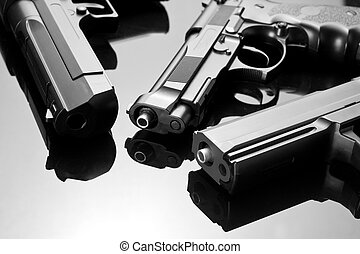 Three handguns Beretta 92, Desert Eagle and M23 Double Eagle...