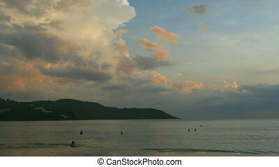 Evening beach in Phuket - Seascape high cumulus clouds...