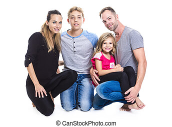 beautiful family on studio white background
