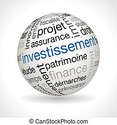 French investment theme sphere with keywords full vector