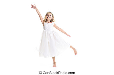 Little girl white dress - A Little girl wearing white dress...