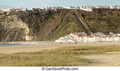 Beach of Nazare, Portugal - Landscape picture of the...
