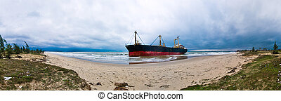 Stranded ship - Stranded cargo ship at the Gulf of Tonkin
