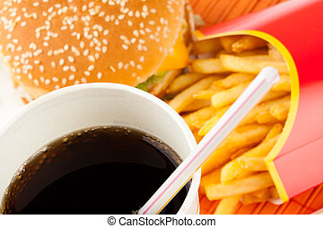 Fast food set of fried potatoes, burger and cola