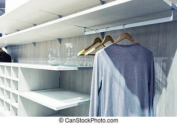 White dressing room - White wooden dressing room interior