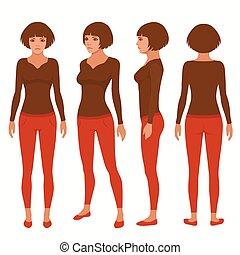 woman cartoon character, - vector woman cartoon character,...