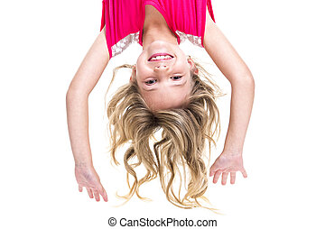 Little girl upside down - A Little girl with upside down...